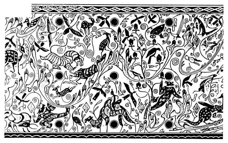 骑骆驼的人和动物纹构成的黑白图案