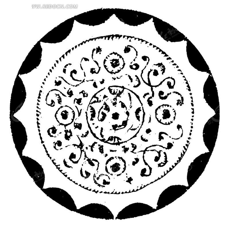 矢量素材 艺术文化 传统图案 中国古典图案-连弧纹斑点曲线构成的圆形