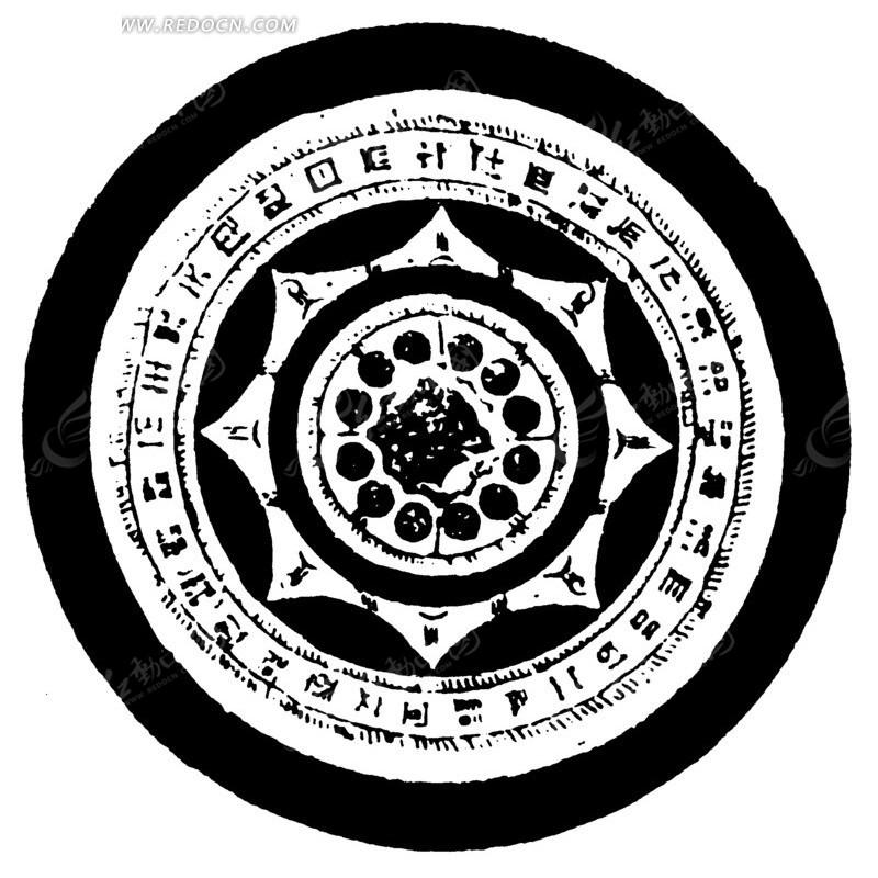 中国古典图案-几何形和文字构成的斑驳的圆形图案