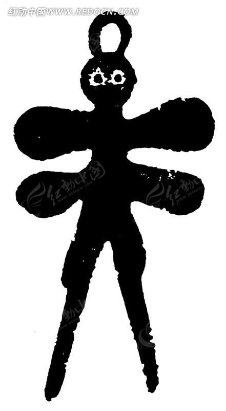 翅抽象人物黑白图案矢量图ai免费下载