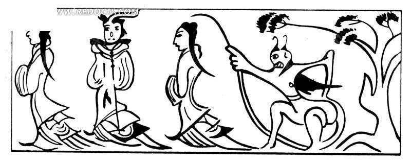 矢量手绘古代人物图形组合