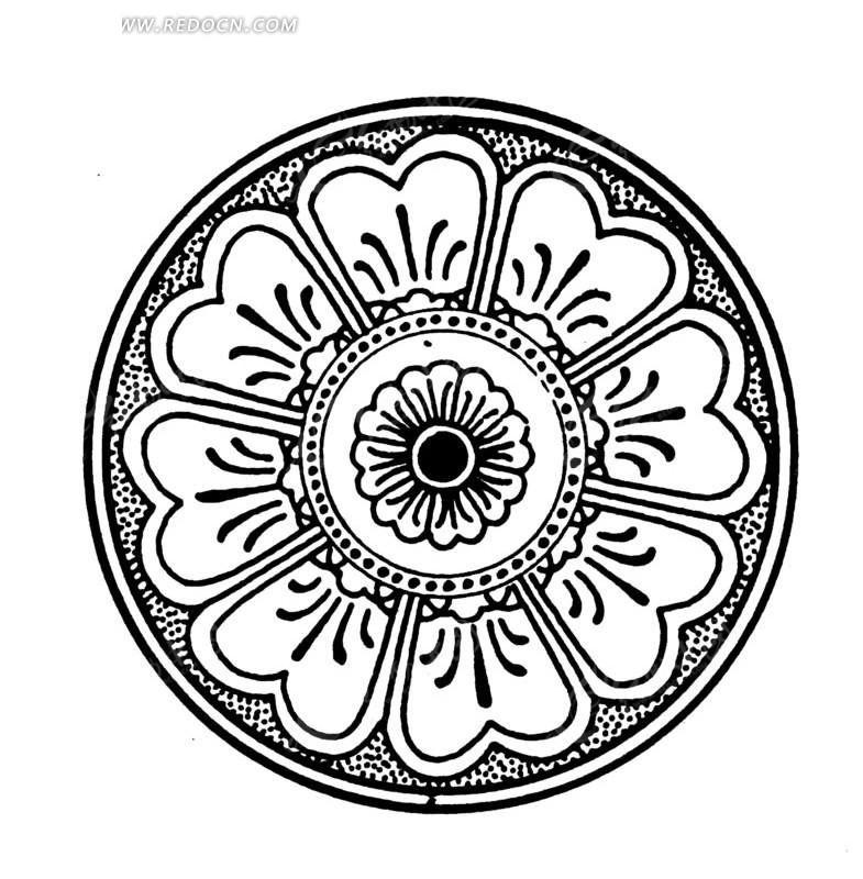 精美 中国 传统 圆形 花纹 底纹 民族风 传统图案 矢量素材