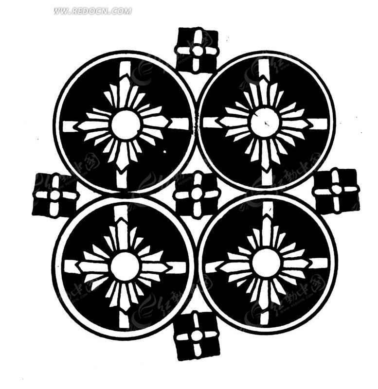 艺术素材设计图片  (777x830); 中国古典图案-花朵和圆形构成的图案图片