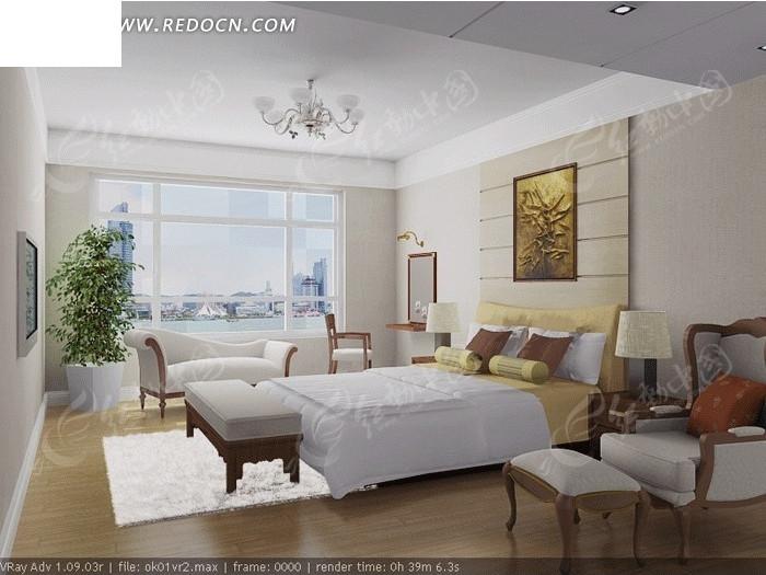 欧式风格      装饰画 白大床 白椅子 白吊灯 简洁 设计效果图 装修