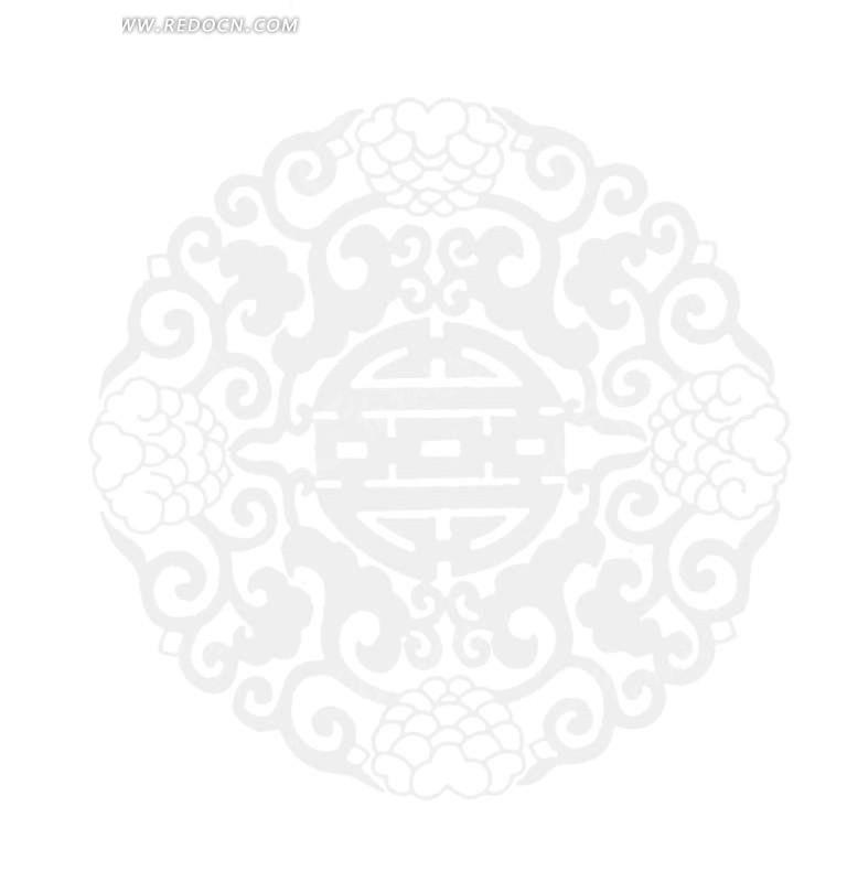 中国古典图案-花朵和卷曲纹构成的圆形图案