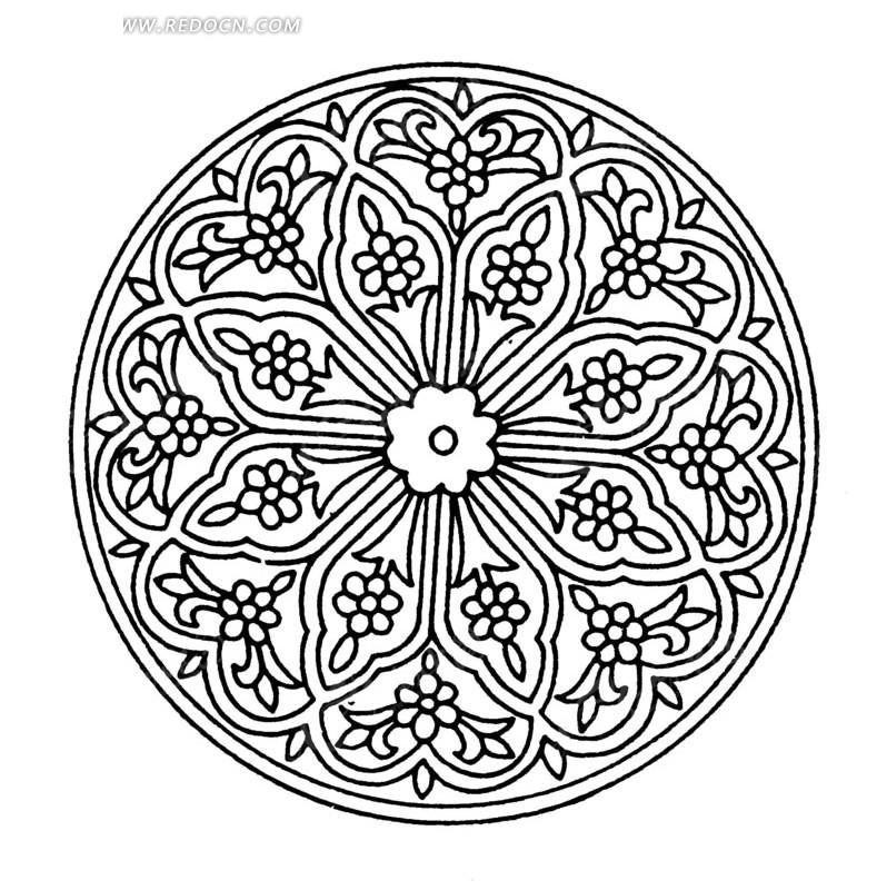 纹 精美 圆形图案 中国风 中国古典 艺术 装饰 黑白  传统图案 矢量素