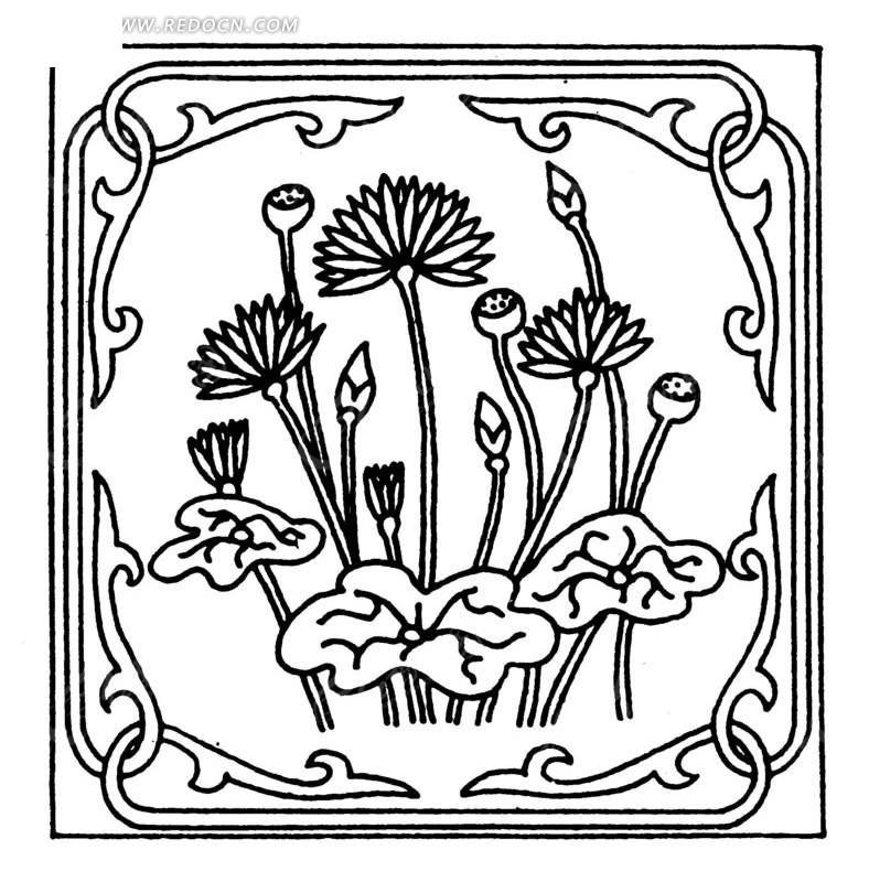 中国古典图案-花朵花蕾叶子和卷曲纹构成的方形图案图片