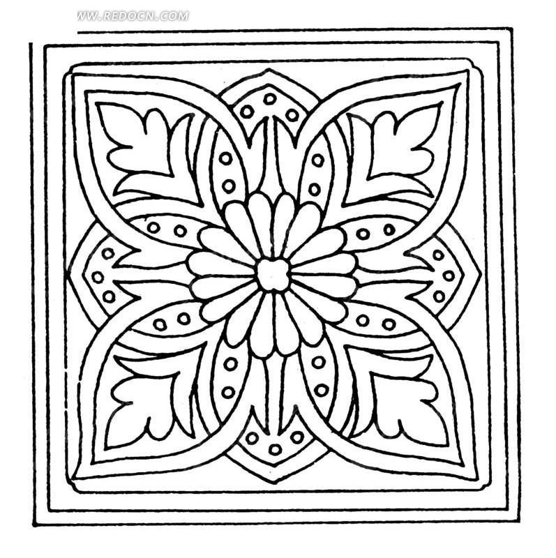 中国古典图案-花朵和几何形构成的方形图案图片
