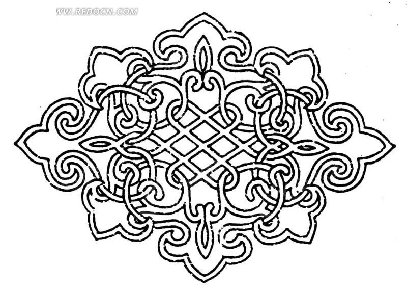 中国古典图案-交缠的曲线构成的如意纹图案图片
