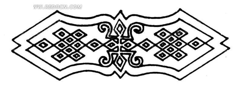 中国古典图案-菱形格子和寿字纹构成的图案