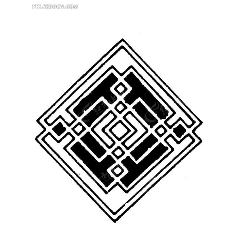 交叠直线条构成的吉祥方结菱形图案图片