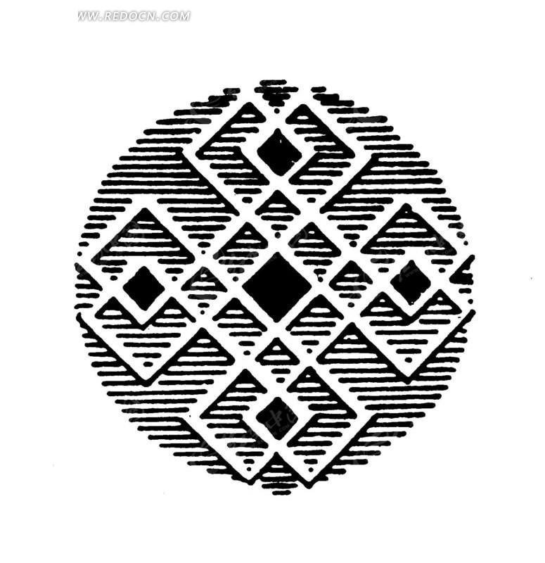 中国古典图案-菱形和线条构成的圆形图案