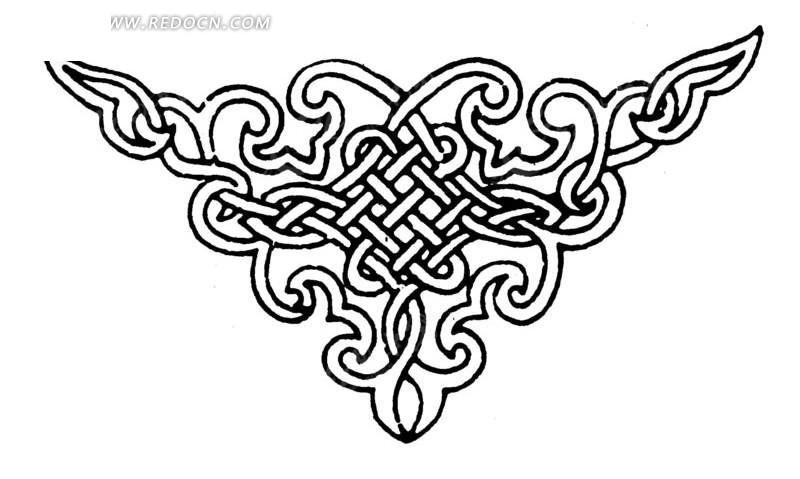 穿叠卷曲线条构成的吉祥结角形图案