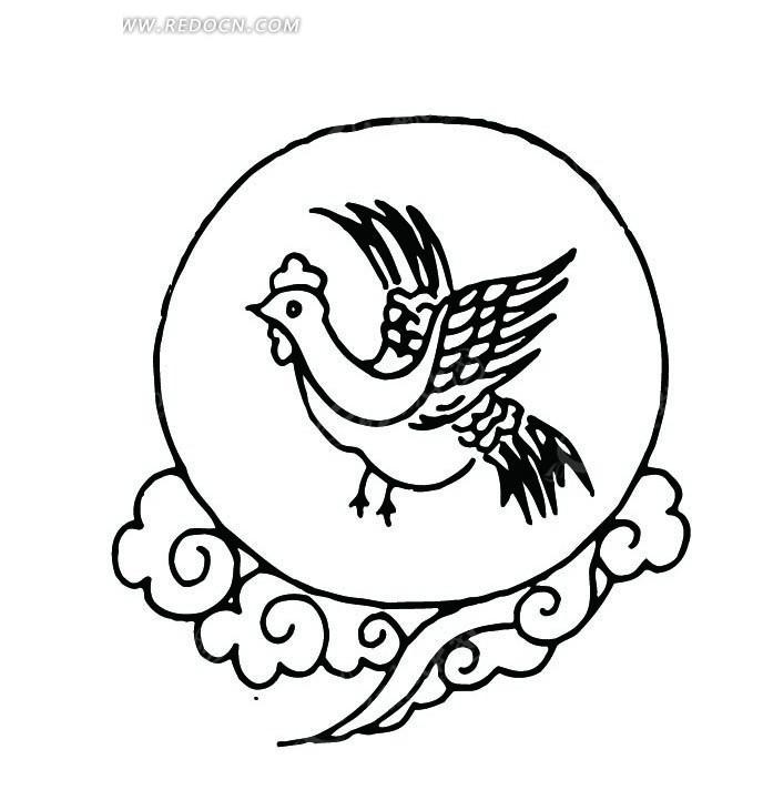黑白色手绘翅膀