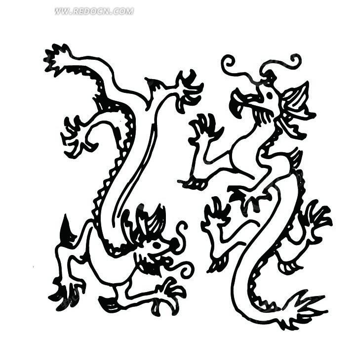 白色背景 矢量龙形花纹 手绘插画  传统图案 矢量素材