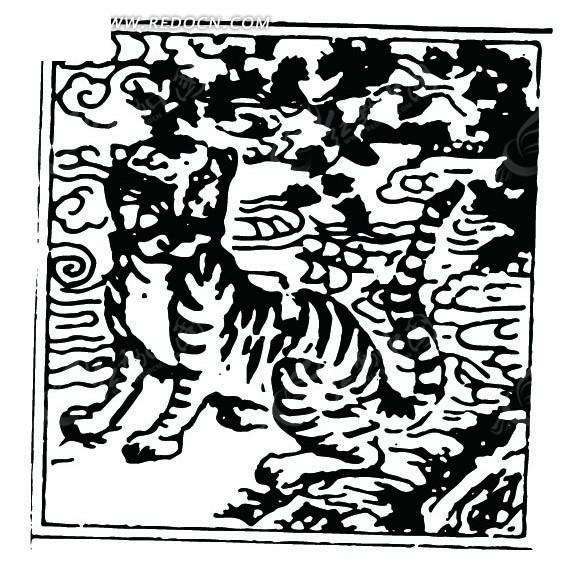 云纹山石边蹲立正面看的虎纹图案