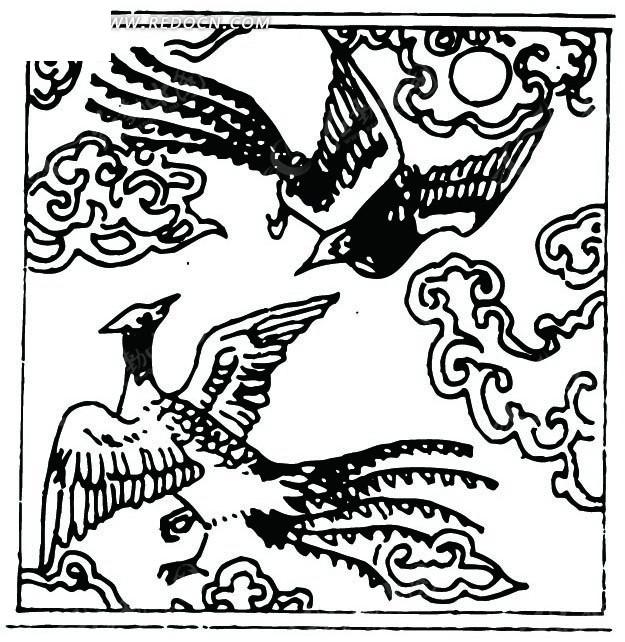 云朵 飞翔 嬉戏 凤凰 太阳 线描图 手绘 传统图案 矢量素材