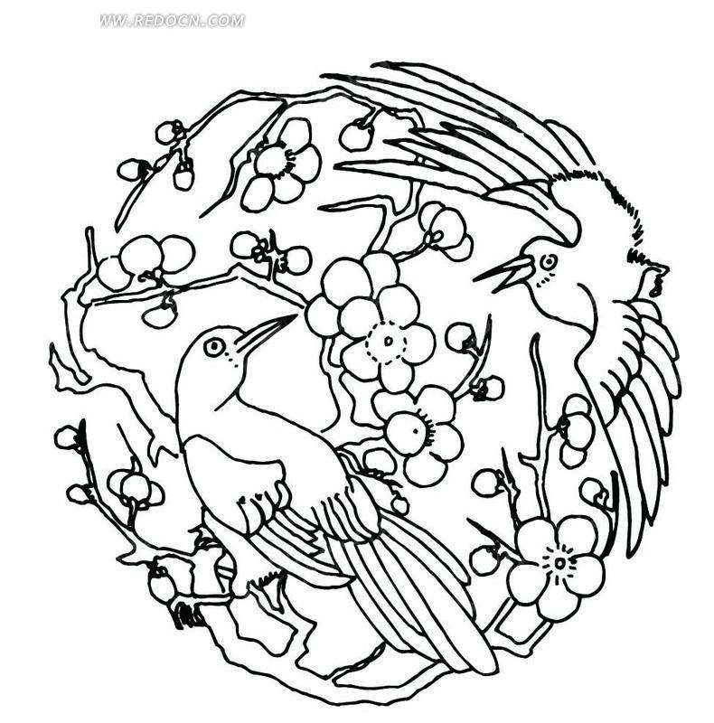 两只喜鹊和梅花枝组成的喜上眉梢吉祥图案