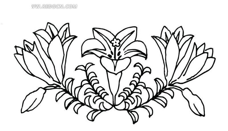 免费素材 矢量素材 艺术文化 传统图案 手绘对称的开喇叭形花朵的植物