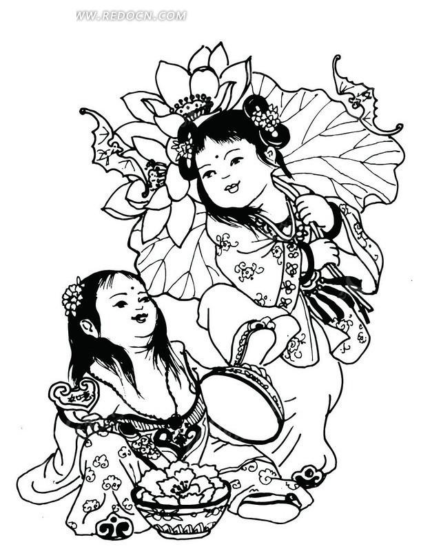 矢量手绘可爱的古代小女孩插画
