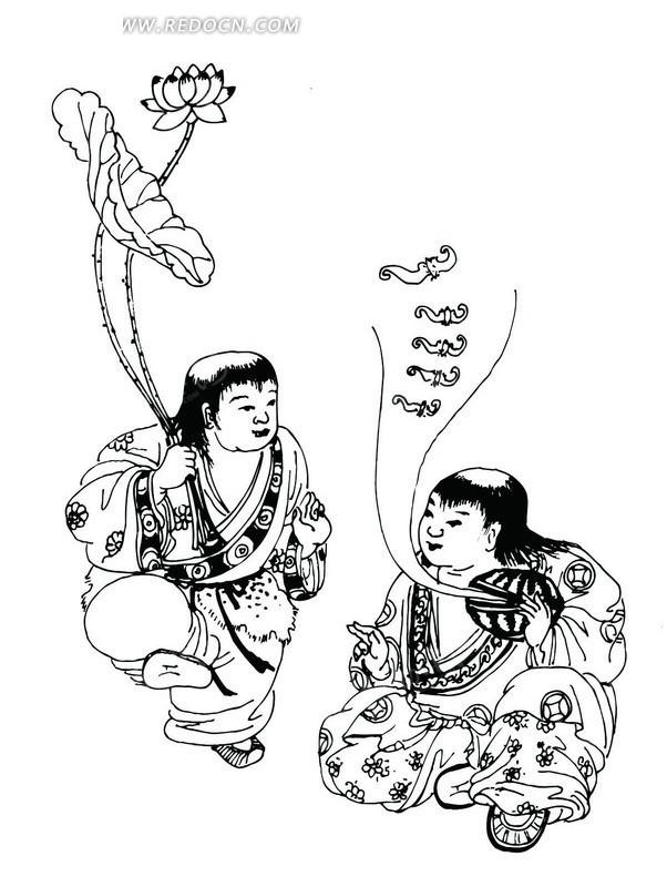 矢量手绘可爱的古代女孩插画图形