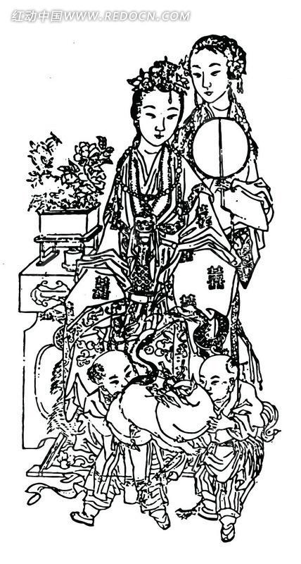 矢量手绘古代妇女小孩人物插画