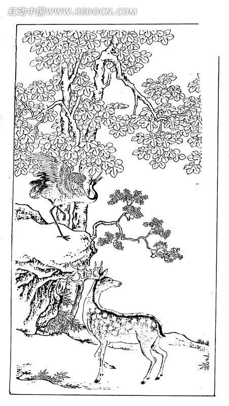 矢量假山树木驯鹿插画线条