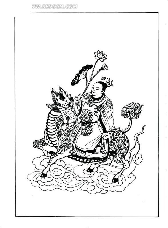 矢量手绘古代神话人物插画图形