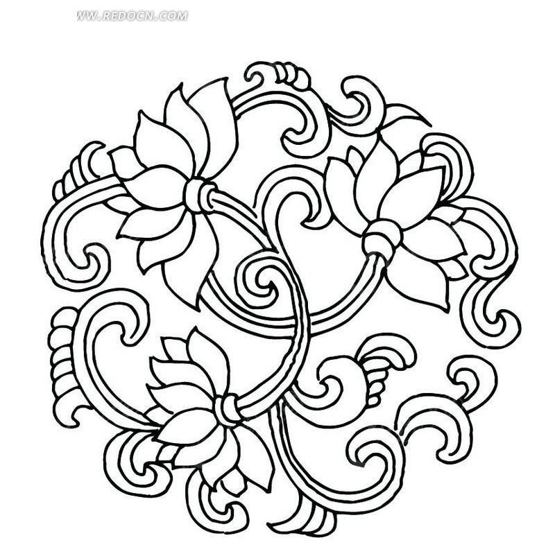 适合纹样图案莲花图片