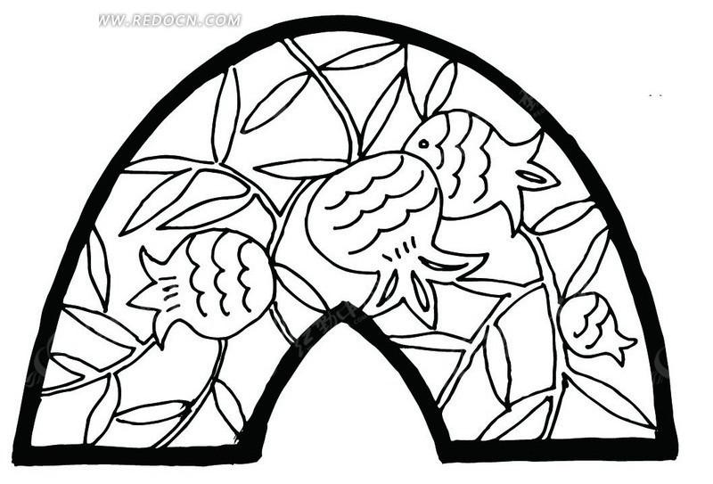 矢量扇形花朵花瓣植物插画图形
