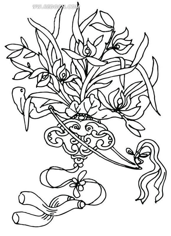 矢量花朵叶子植物插画线条