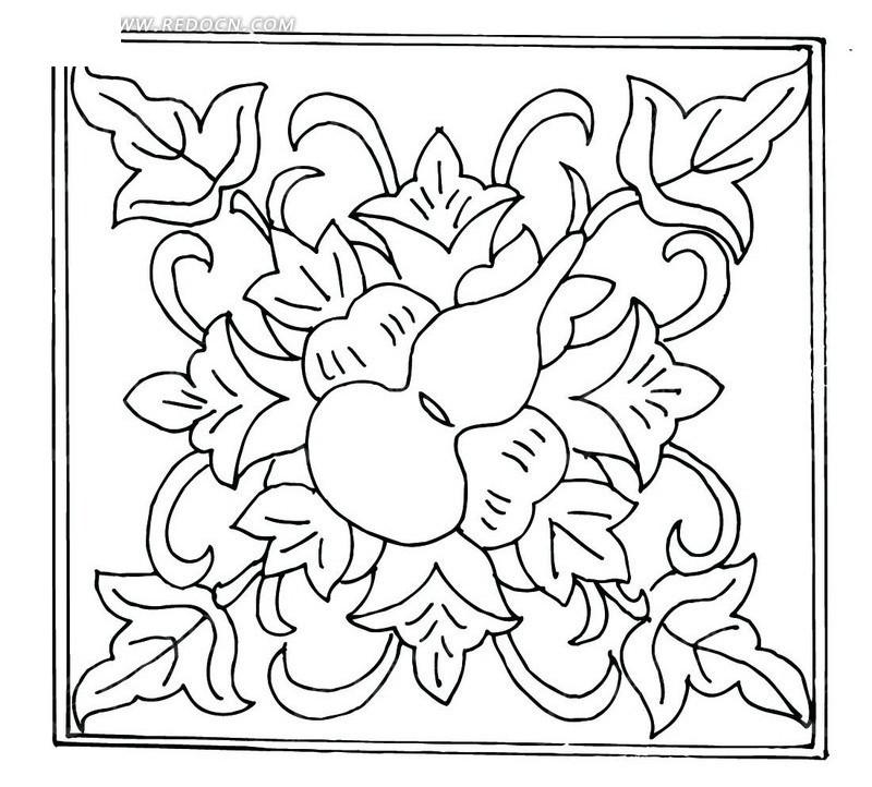 手绘瓢葫芦和叶蔓矢量图图片