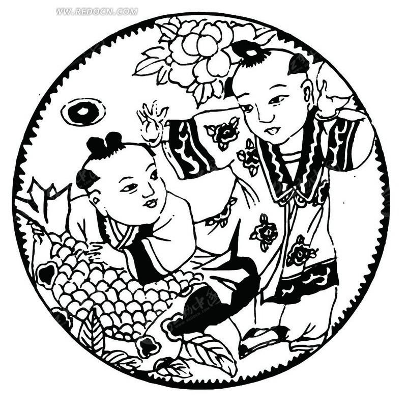 手绘古代玩耍摘水果的小孩矢量图