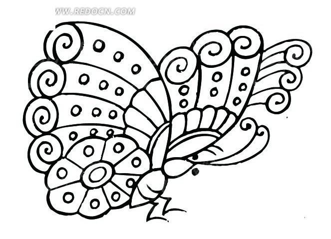 线条画蝴蝶侧面装饰纹ai矢量文件