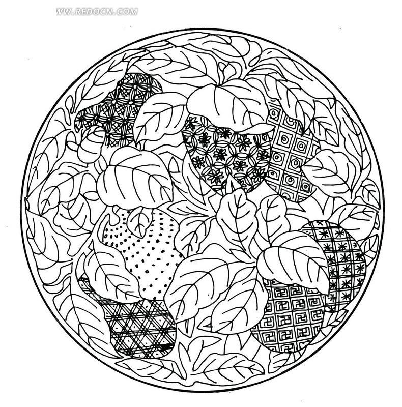 手绘菠萝和草莓及其叶子圆形图案图片