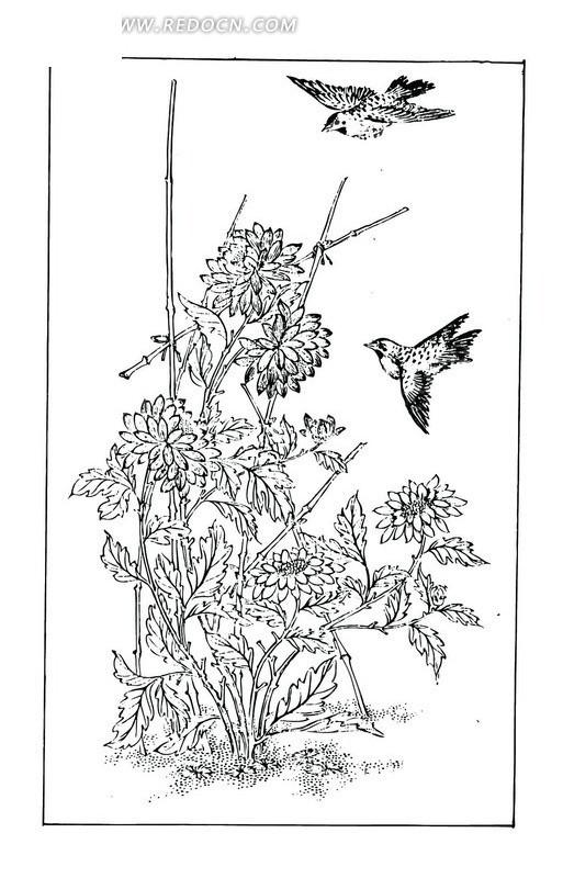 竹篱笆牡丹花菊花两只鸟构成的吉祥图案
