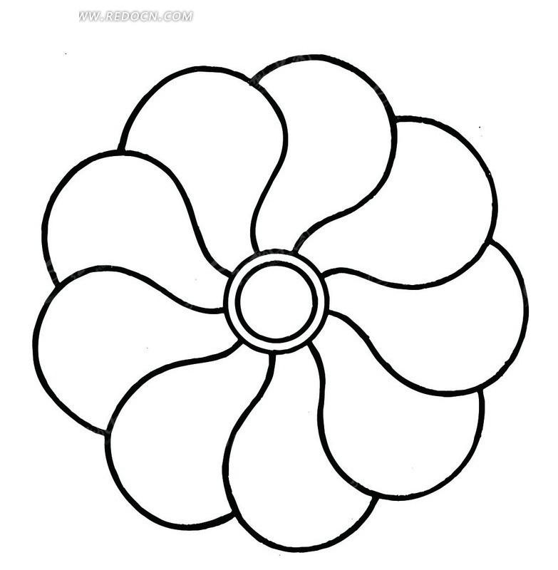 艺术文化 传统图案 矢量手绘创意花瓣曲线图形  请您分享: 红动网提供