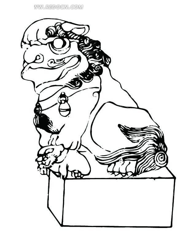 中国古典图案-张嘴的蹲着的狮子的侧面