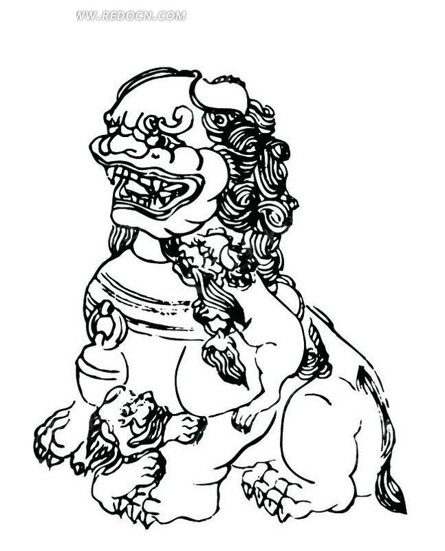 """脚上的小狮子矢量图_传统图案; > 传统图案; 搜索""""小石狮""""相关图片图片"""