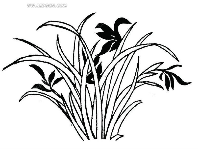 中国古典图案-花朵和细长的叶子构成的图案图片