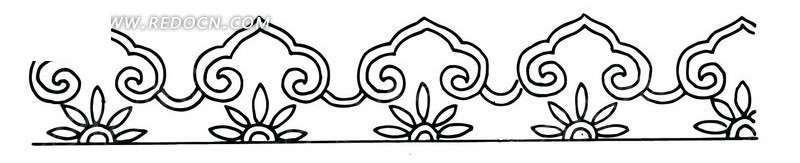 中国古典图案-如意纹和花朵构成的花边图片