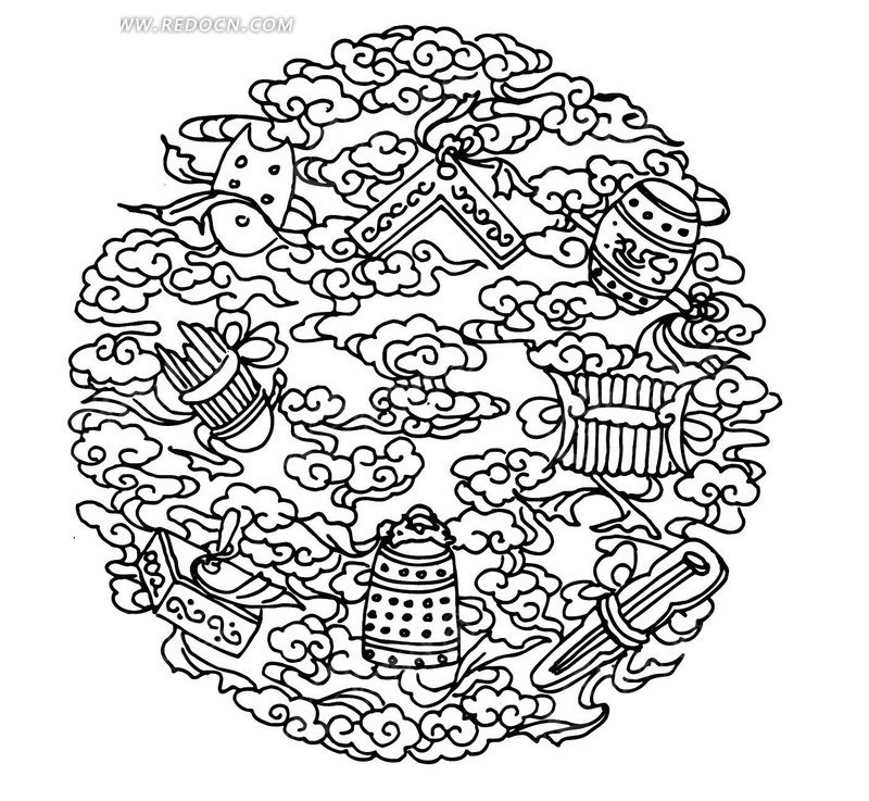 中国古典图案-云纹和各种乐器构成的圆形图案矢量图图片