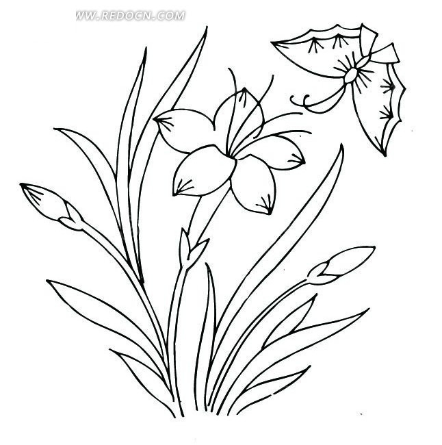 中国古典图案-花朵叶子蝴蝶图案图片