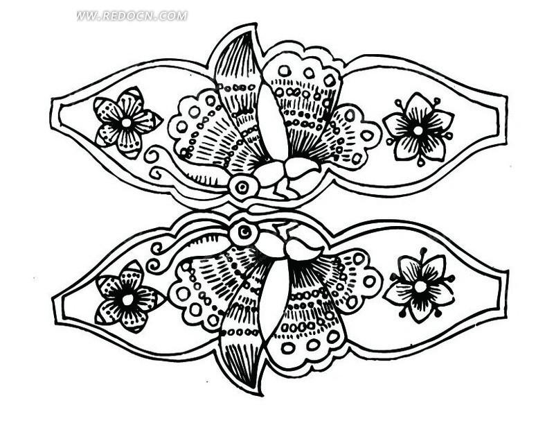 花朵 蝴蝶 图案 中国风 中国古典 艺术 装饰 黑白  传统图案 矢量素材