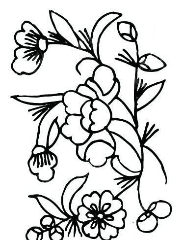 中国古典图案-花朵花蕾和叶子构成的黑白图案图片