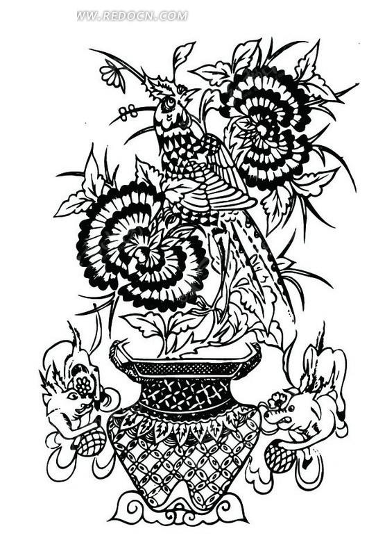 牡丹花篮/动物滚球/华虫构成的吉祥图案