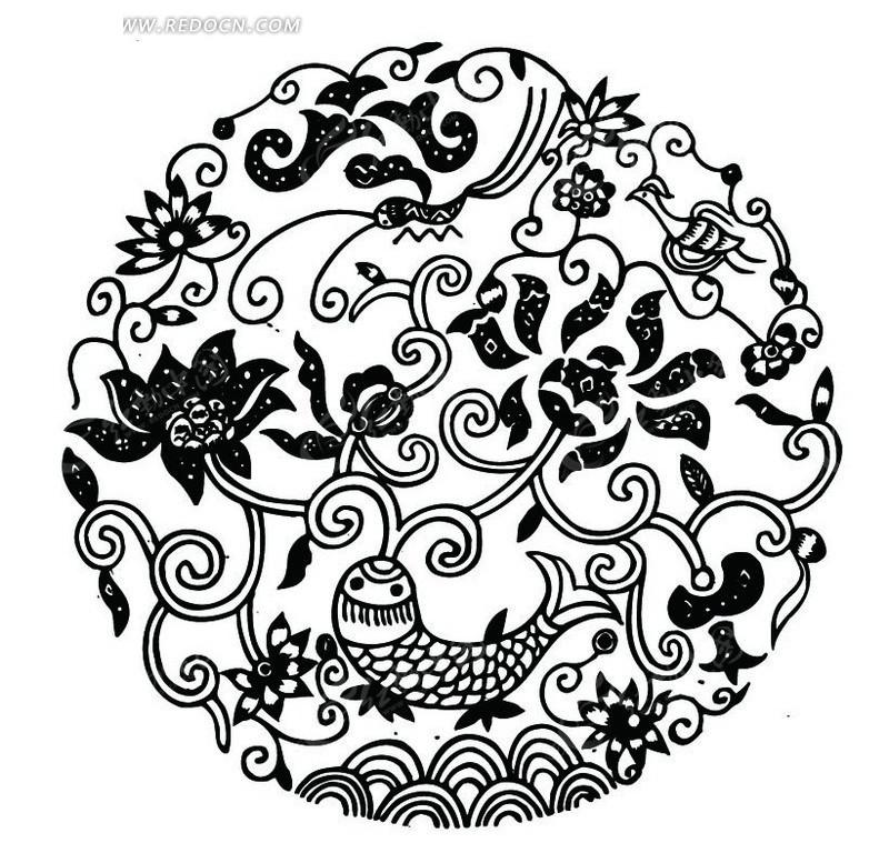 中国传统鲤鱼花朵剪纸图案图片