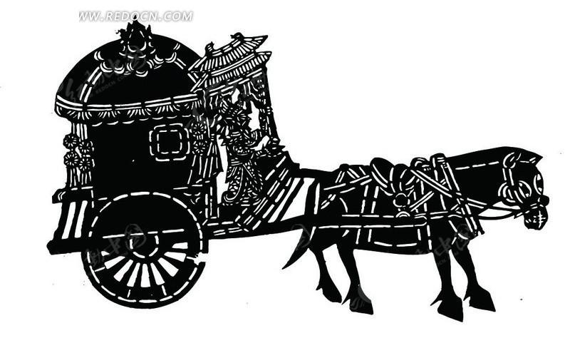 花轿马车 男子 剪纸 皮影戏 黑白 人物头像 图案 中国风 中国古典