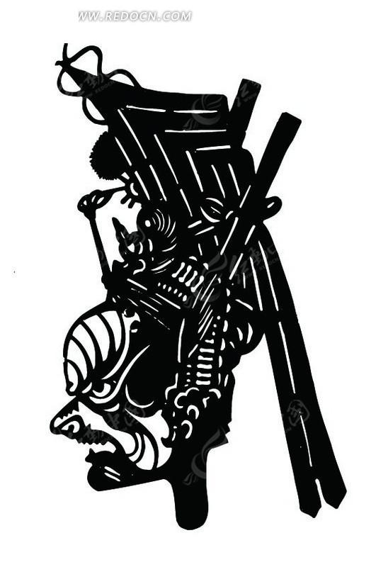 侧面头像矢量图(:); 电路板上的黑色男人侧面 中国古典图案-戴装饰
