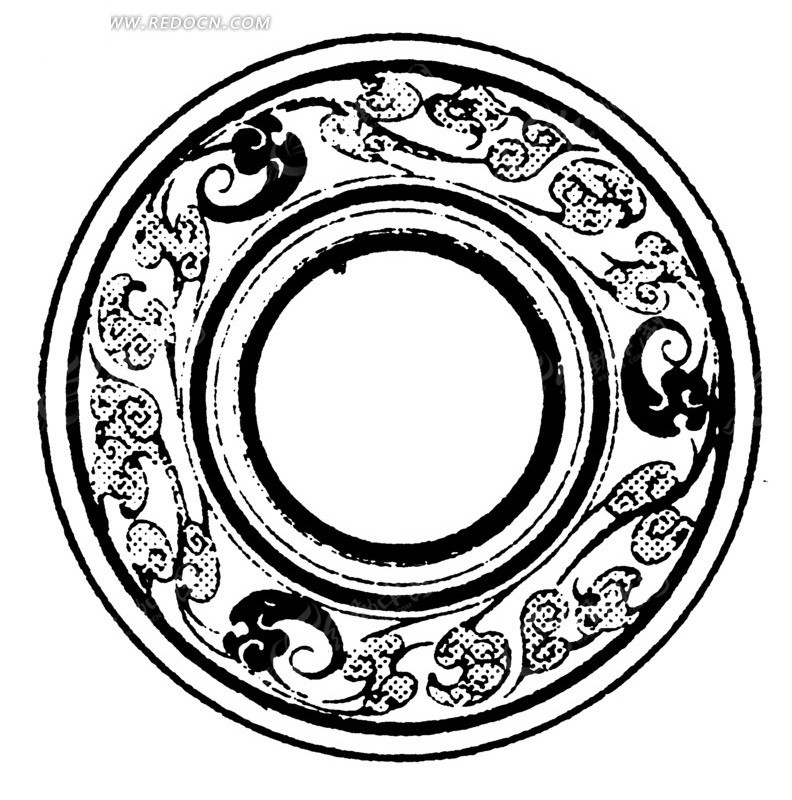 手绘俯瞰古典瓷碗内部矢量素材